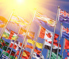 Flags of the world with lens flare