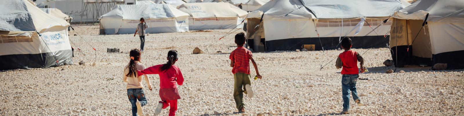 Kids in refugee camp