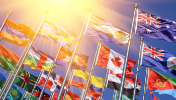 world flags with lens flare